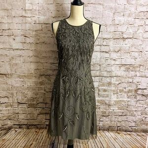 Adrianna Papell Gray Beaded Cocktail Dress NWT